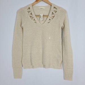 Aeropostale Cream Knit Pullover Sweater V Neck XS